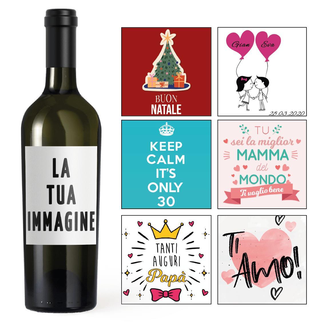 bottiglia etichette personalizzate Natale Compleanno San Valentino Mamma Papà