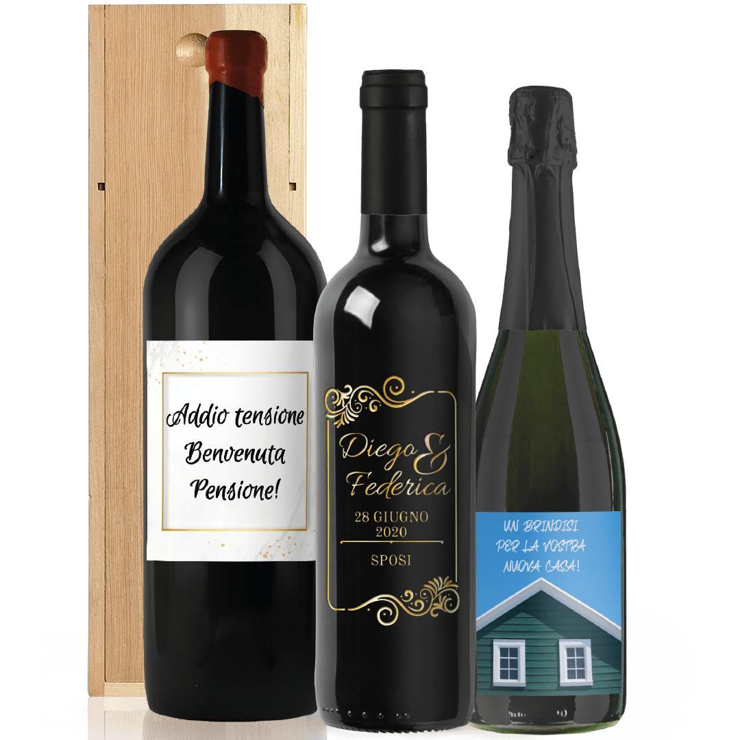 bottiglie personalizzate pensione incisione vetro new home