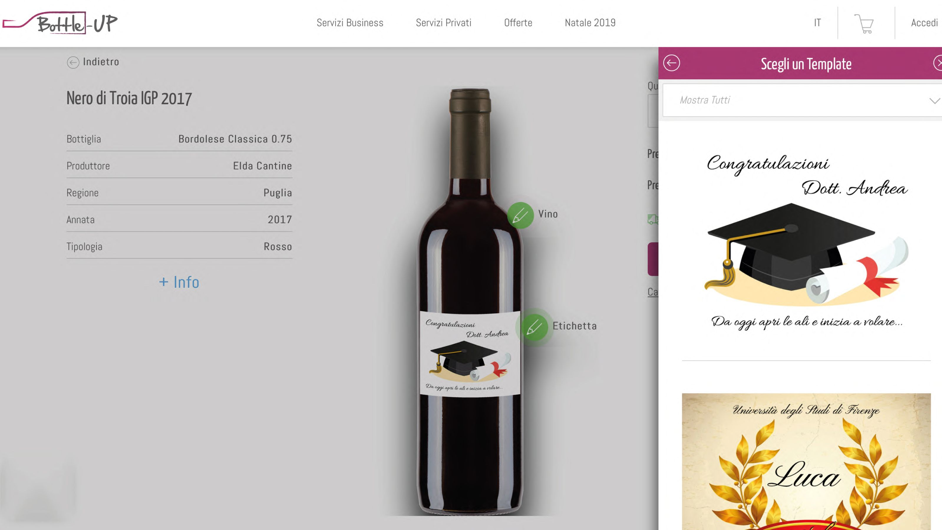 Template selection for graduation gift on the configurator for wine bottles
