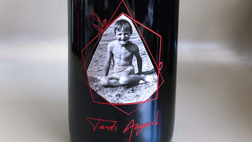 Personalized bottle of magnum size red wine with engraving and photos for a birthday present