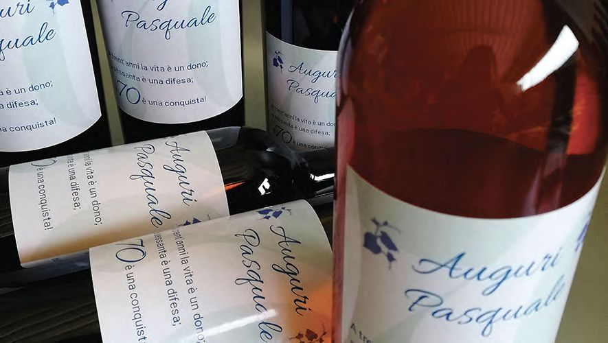 Red and rosé wine personalized for Pasquale 70 years birthday