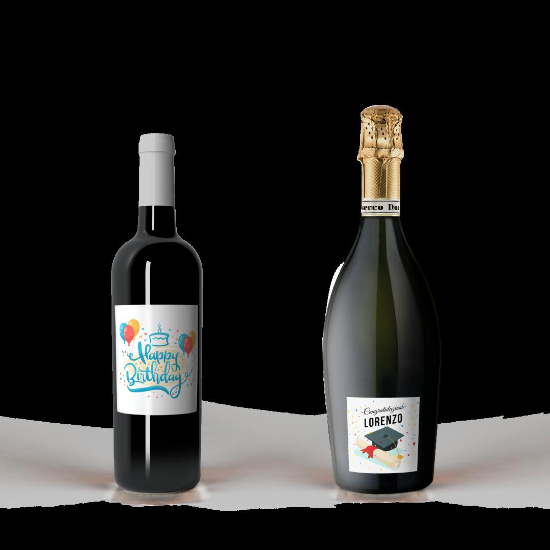 Red wine bottle with Happy Birthday and Prosecco label for graduation present Congratulazioni Lorenzo