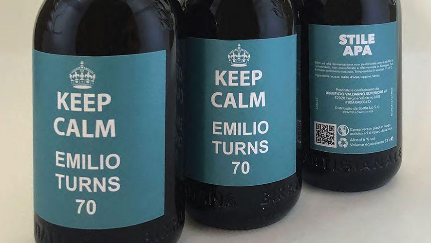 Birra personalizzata per regalo di compleanno Keep Calm Emilio turns 70
