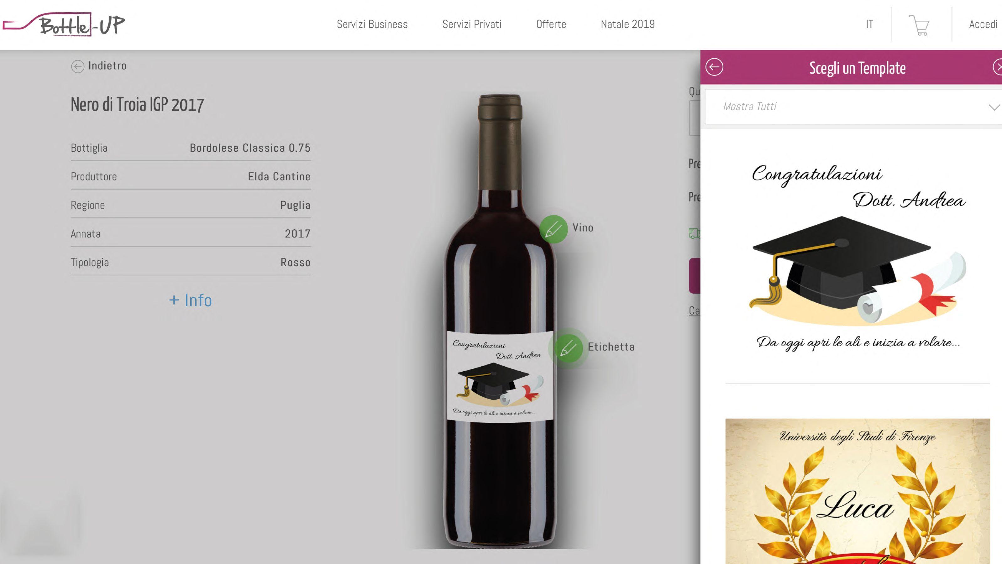 Step selezione template sul configuratore per bottiglie di vino