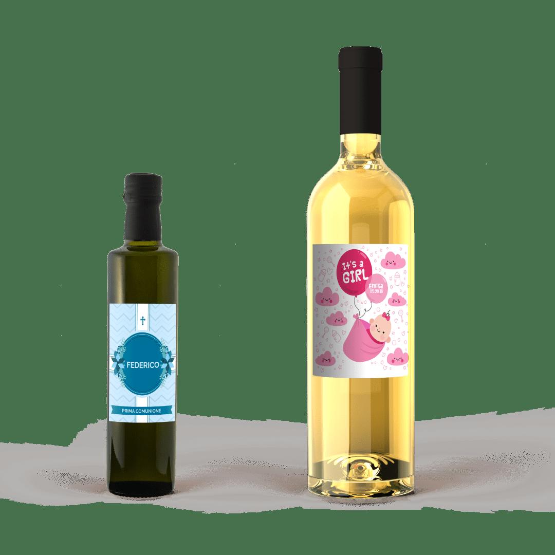 Bottiglia olio e bottiglia vino bianco con etichetta per battesimo
