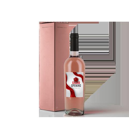 Bottiglia vino rosato con etichetta grand opening e confezione rosato