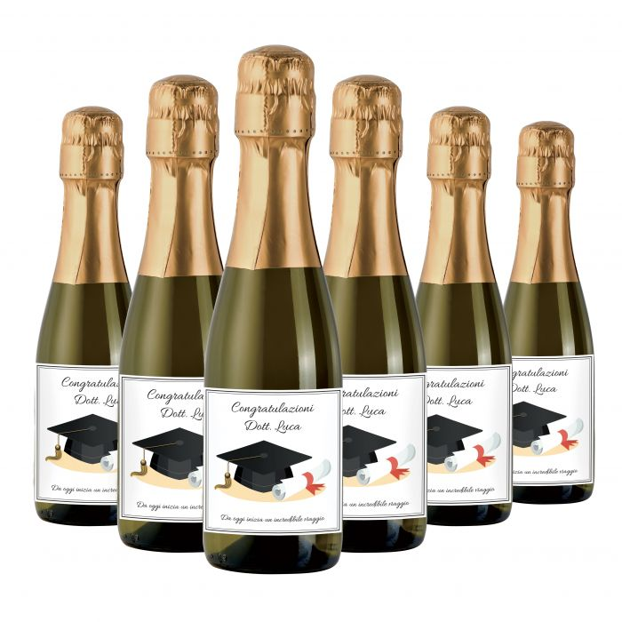 Small Prosecco bottles customized for Laurea