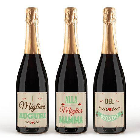 Prosecco Treviso Extra Dry Doc – 3 bottles with personalized gift idea label for Mother's Day