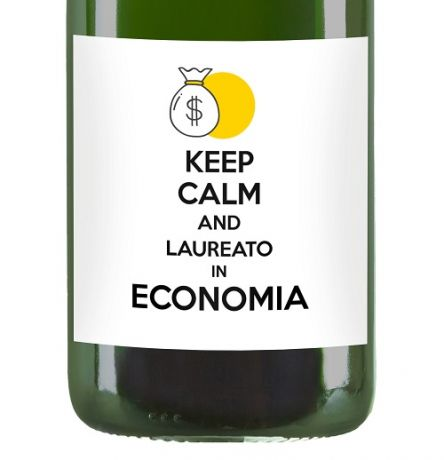 Keep Calm and ... Graduated! - Personalized bottle gift idea for graduation - Sparkling wine with label and personalized dedication