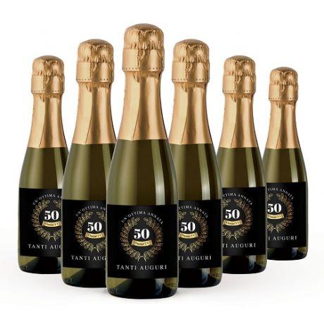 12X Bottiglie di Prosecco piccole personalizzate - Mignon Prosecco Extra Dry DOC 20cl