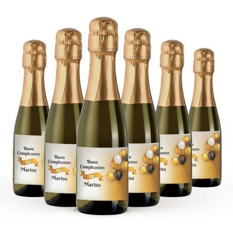 36X Personalized small Prosecco bottles birthday - Mignon 20cl