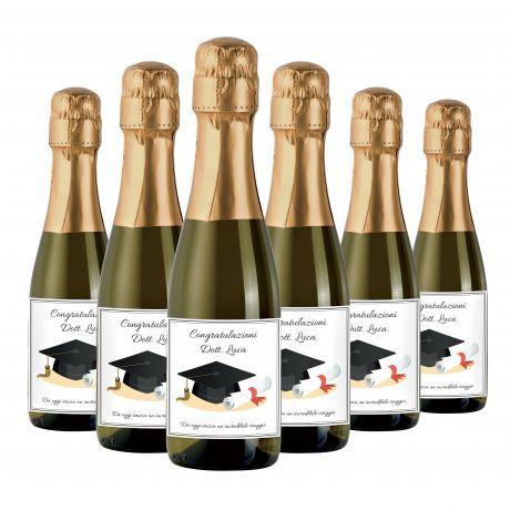 24X Bottiglie di Prosecco piccole personalizzate per Laurea - Mignon 20cl - bomboniere per festa di laurea