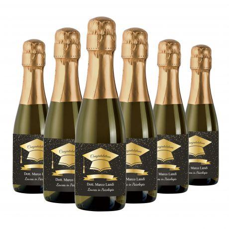 36X Bottiglie di Prosecco piccole personalizzate per Laurea - Mignon 20cl - bomboniere per festa di laurea