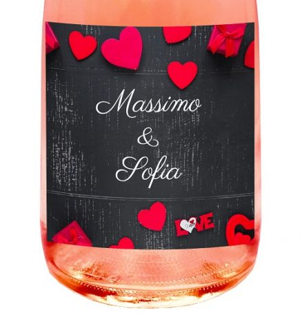 PERSONALIZED NON-ALCOHOLIC SPARKLING WINE Rosé - Gift idea for wedding or engagement anniversary