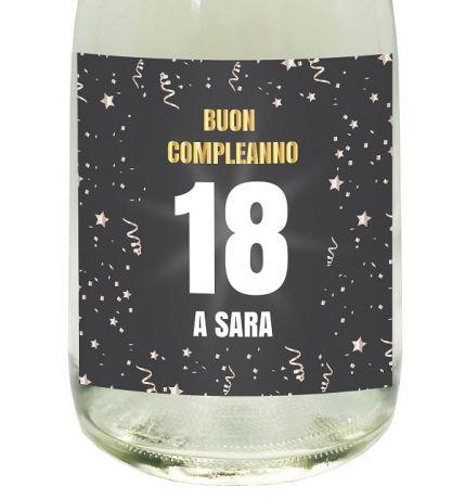 SPUMANTE ANALCOLICO PERSONALIZZATO - Idea regalo per compleanno - etichetta personalizzata con dedica