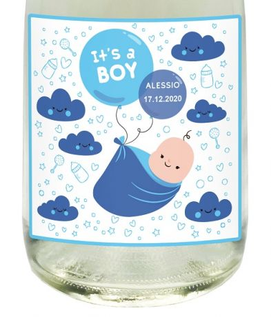 PERSONALIZED NON-ALCOHOLIC SPARKLING WINE - Gift idea for baptism, birth or baby shower