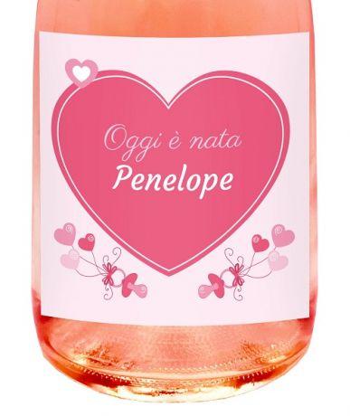 PERSONALIZED ROSÉ NON-ALCOHOLIC SPARKLING WINE - Gift idea for baptism, birth or baby shower