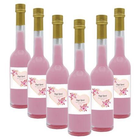 60X Bomboniere liquore crema alla fragola - bottiglie mignon 0.10 lt. - Mini bottiglie di liquore artigianale idea per bomboniere di matrimonio o cerimonie