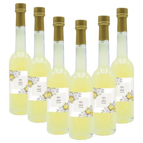 90X Bomboniere liquore al limone - bottiglie mignon 0.10 lt. - Mini bottiglie di liquore artigianale idea per bomboniere di matrimonio o cerimonie