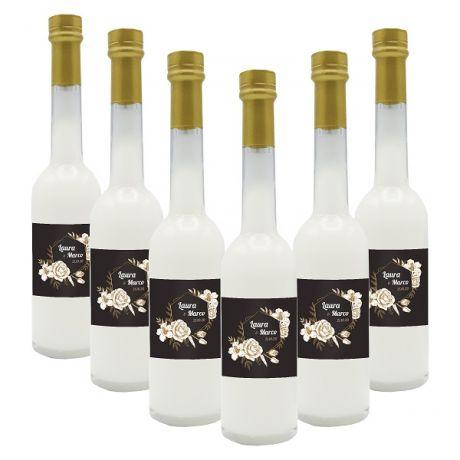 72X Bomboniere crema di mandorla - bottiglie mignon 0.10 lt. - Mini bottiglie di liquore artigianale idea per bomboniere di matrimonio o cerimonie