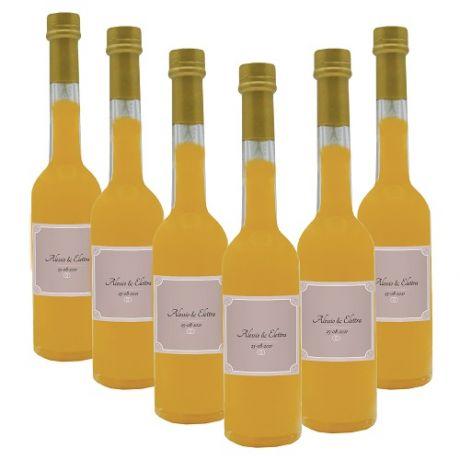 36X Bomboniere crema di pesca - bottiglie mignon 0.10 lt. - Mini bottiglie di liquore artigianale idea per bomboniere di matrimonio o cerimonie