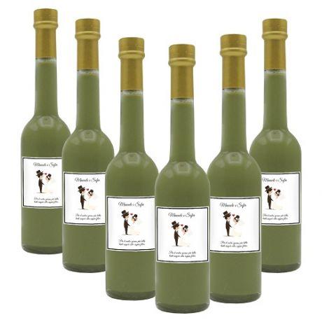 60X Bomboniere crema di pistacchio - bottiglie mignon 0.10 lt. - Mini bottiglie di liquore artigianale idea per bomboniere di matrimonio o cerimonie