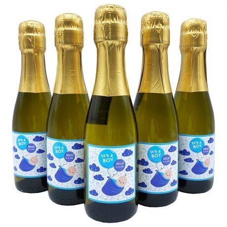 36X Bottiglie Prosecco piccole personalizzate - Bomboniere mignon battesimo, nascita, baby shower