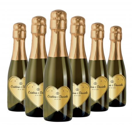 72X Personalized mignon Prosecco bottles - wedding favors