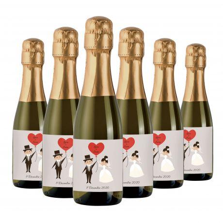 48X Bottiglie Prosecco mignon personalizzate - bomboniere per matrimonio