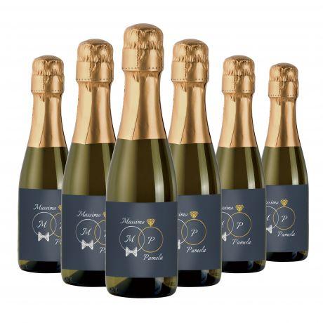 96X Personalized mignon Prosecco bottles - wedding favors