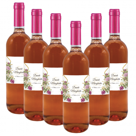120 bottles of personalized IGT rosé wine for weddings